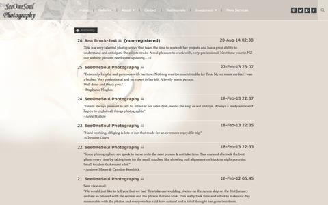 Screenshot of Testimonials Page zenfolio.com - SeeOneSoul Photography | Guestbook - captured Sept. 12, 2014
