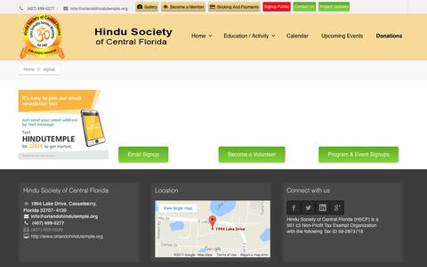 Screenshot of Signup Page hindutempleorlando.org - Hindu Society of Central Florida | signup - captured Aug. 14, 2017