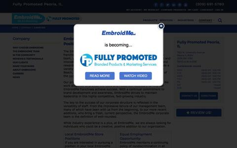 Screenshot of Jobs Page embroidme.com - Custom uniforms, Logo t shirt,Careers, Job Opportunities | EmbroidMe of Peoria, IL - captured May 17, 2017
