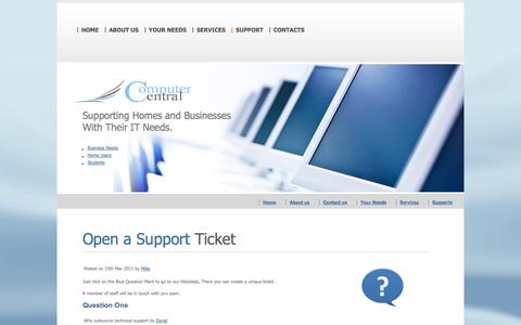 Screenshot of Support Page computercentral.ie - Supporting Homes and Businesses  | Computer Central | IT Services | Computer Maintenance | Killarney | Tralee - captured Oct. 3, 2014