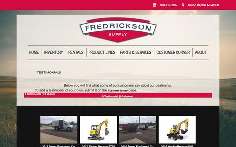 Screenshot of Testimonials Page fredricksonsupply.com - Testimonials - captured Aug. 27, 2018