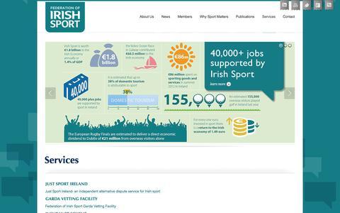 Screenshot of Services Page irishsport.ie - Services   Federation of Irish Sport - captured Oct. 6, 2014