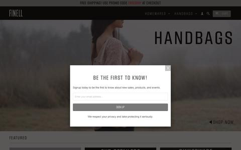 Screenshot of Home Page finell.co - FINELL - Modern Luxury Housewares and Handbags - captured Oct. 13, 2017