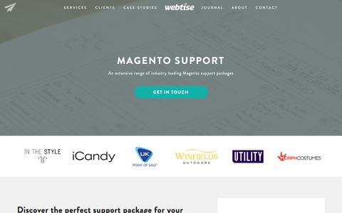 Screenshot of Support Page webtise.com - Magento Support | Webtise - captured Dec. 1, 2016