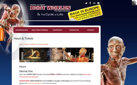 Screenshot of Hours Page bodyworlds.co.za - Hours & Tickets | Body Worlds South Africa - captured Oct. 5, 2014