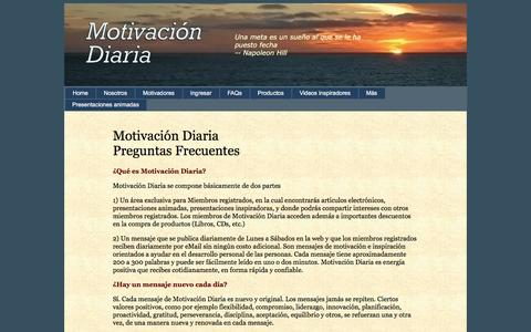 Screenshot of FAQ Page motivaciondiaria.com - FAQ - Preguntas Frecuentes - captured March 12, 2016