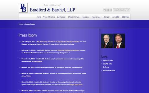 Screenshot of Press Page bradfordbarthel.com - Press Room | Law Offices of - captured Sept. 30, 2014