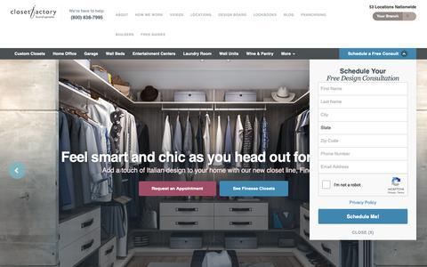 Screenshot of Home Page closetfactory.com - Custom Closets | Design and Install | Closet Factory - captured Nov. 5, 2018