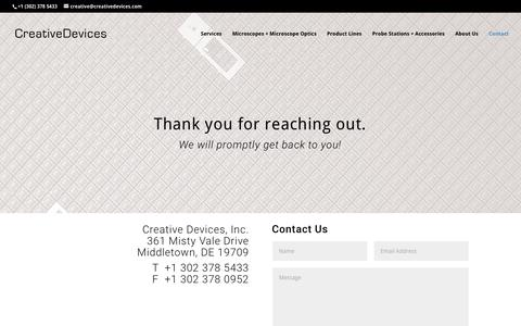 Screenshot of Contact Page creativedevices.com - Contact | Creative Devices - captured Sept. 8, 2017