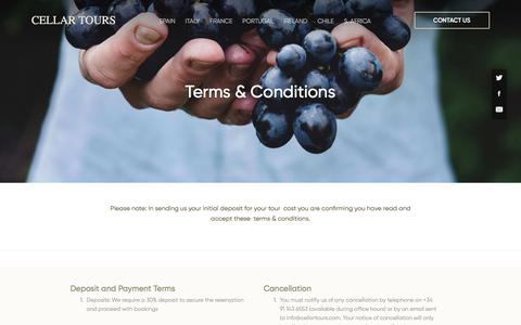 Screenshot of Terms Page cellartours.com - Terms & Conditions » Cellar Tours - captured July 16, 2018