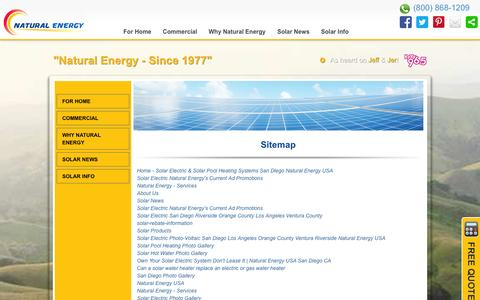 Screenshot of Site Map Page naturalenergyusa.com - Site Map | Natural Energy - captured Oct. 27, 2014