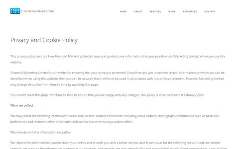 Screenshot of Privacy Page financialmarketing.com - Privacy and Cookie Policy - Financial Marketing - captured Nov. 3, 2016