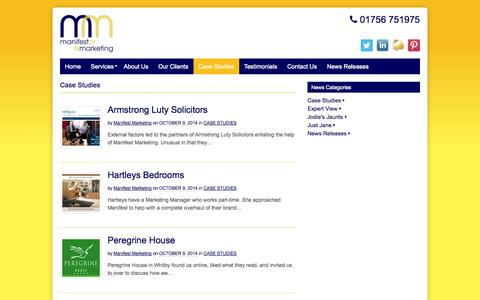Screenshot of Case Studies Page manifestmarketing.co.uk - Case Studies Archives - Manifest PR and Marketing - captured Nov. 2, 2014