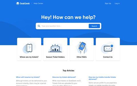 Screenshot of Support Page seatgeek.com - SeatGeek - captured Sept. 20, 2019