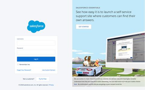 Screenshot of Login Page salesforce.com - Login | Salesforce - captured Nov. 16, 2018
