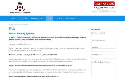 Screenshot of FAQ Page highveldsteel.co.za - FAQ - Highveld Steel - 063 872 7325 - captured Sept. 28, 2018