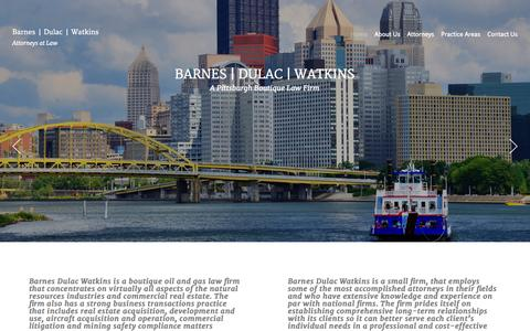 Screenshot of Home Page barnesdulac.com - Oil and Gas Law Firm | Barnes Dulac Watkins | Pittsburgh Area - captured Oct. 5, 2014
