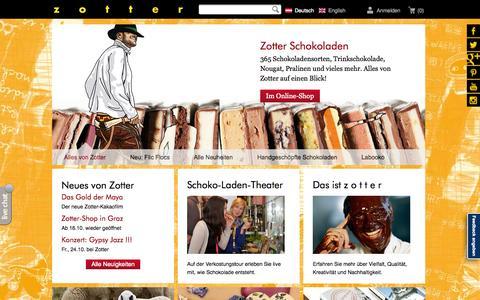Screenshot of zotter.at - zotter Schokoladen Manufaktur: Startseite - captured Oct. 21, 2014