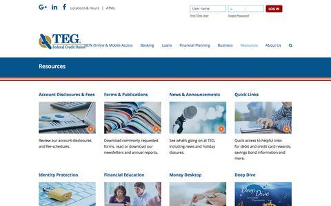 Screenshot of tegfcu.com - Resources – TEG Federal Credit Union - captured Dec. 2, 2017