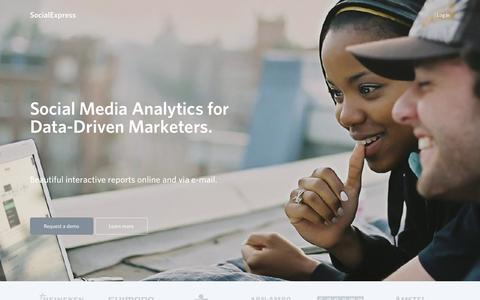 Screenshot of Home Page social-express.com - SocialExpress — Social Media Analytics for Data-Driven Marketers - captured Sept. 17, 2014