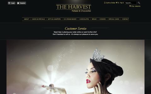 Screenshot of Support Page harvestcakes.com - THE HARVEST • Customer Service - captured Sept. 25, 2014