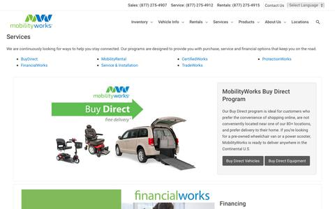 Screenshot of Services Page mobilityworks.com - Services - MobilityWorks - captured Nov. 4, 2019