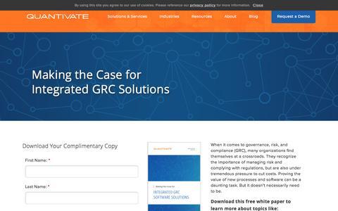 Screenshot of Case Studies Page quantivate.com - Making the Case for Integrated GRC Solutions | Quantivate - captured Dec. 3, 2019