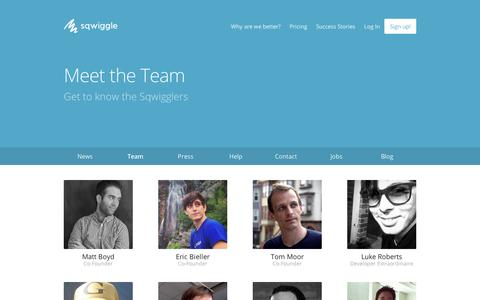 Screenshot of Team Page sqwiggle.com - Meet the Team | Sqwiggle - captured Sept. 12, 2014