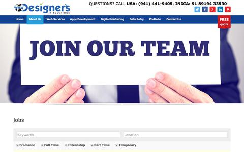 Screenshot of Jobs Page designersit.com - Jobs - Website Design & Development - Mobile Apps Development - Digital Marketing Services - captured Oct. 12, 2017