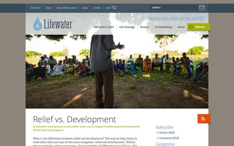 Screenshot of Blog lifewater.org - Lifewater International | A Non-Profit Christian Water Development Organization - - captured Oct. 3, 2014