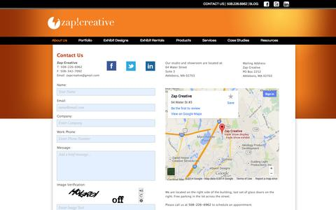 Screenshot of Contact Page Maps & Directions Page zapcreativesolutions.com - Contact Us for Trade Show Exhbit Design Solutions   Zap Creative - captured Oct. 27, 2014