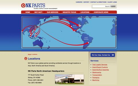 Screenshot of Locations Page nkparts.com - Locations | NK Parts | Global Supply Management - captured Oct. 27, 2014