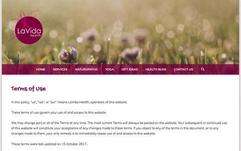 Screenshot of Terms Page lavidahealth.com.au - Terms of Use | LaVida Health - captured July 15, 2018