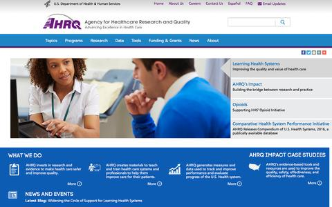Screenshot of Home Page ahrq.gov - Agency for Healthcare Research & Quality - captured Oct. 7, 2017
