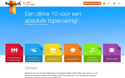 Screenshot of Contact Page diogenesreizen.nl - Contact | Diogenes Reizen - captured Sept. 30, 2014