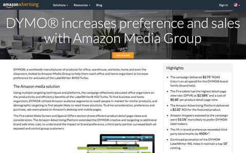 Screenshot of Case Studies Page amazon.com - DYMO® increases preference and sales with Amazon Media Group - Amazon Advertising - captured June 29, 2018