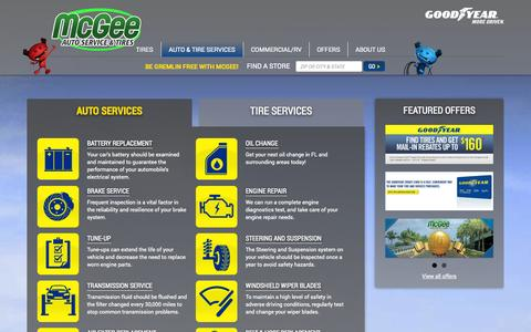 Screenshot of Services Page mcgeetire.com - Auto Repair Services in Tampa, FL, Lakeland, FL | McGee Auto Service & Tires - captured Oct. 27, 2014