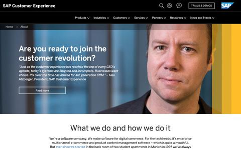 Screenshot of About Page sap.com - Software Company | Digital Commerce | SAP Hybris - captured Oct. 29, 2018