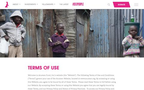 Screenshot of Terms Page acumen.org - Acumen   Terms of Use - - captured Oct. 20, 2017
