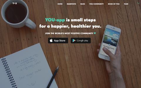 Screenshot of Home Page you-app.com - YOU-app - Small steps to happier, healthier you - captured Dec. 30, 2015