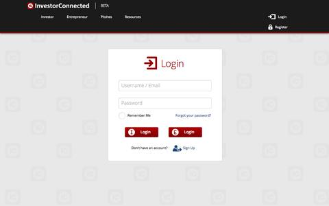 Screenshot of Login Page investorconnected.com - InvestorConnected - The Business Funding Network- Login - captured Oct. 6, 2014