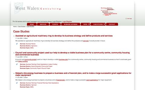 Screenshot of Case Studies Page westwalesconsulting.com - Case Studies | West Wales Consulting - captured Oct. 7, 2014