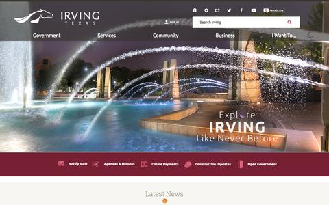 Screenshot of Home Page cityofirving.org - Irving, TX - Official Website | Official Website - captured Sept. 19, 2014