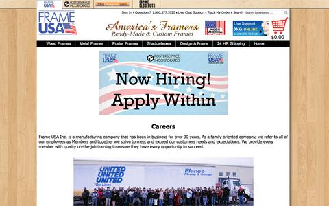 Screenshot of Jobs Page frameusa.com - Career Page - captured Aug. 14, 2017
