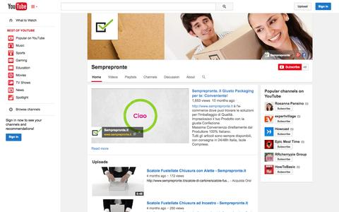 Screenshot of YouTube Page youtube.com - Semprepronte  - YouTube - captured Oct. 26, 2014