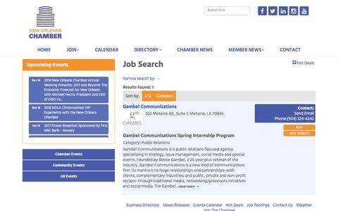 Screenshot of Jobs Page neworleanschamber.org - Job Search - New Orleans Chamber of Commerce, LA - captured Dec. 13, 2016