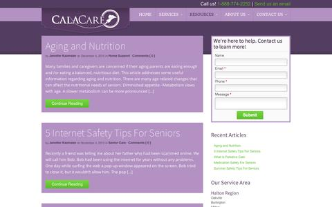 Screenshot of Press Page calacare.com - Blog - CalaCare - captured Dec. 6, 2015