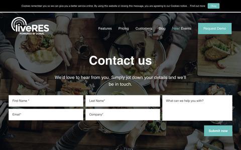 Screenshot of Contact Page liveres.co.uk - Contact us – liveRES - captured Dec. 16, 2018