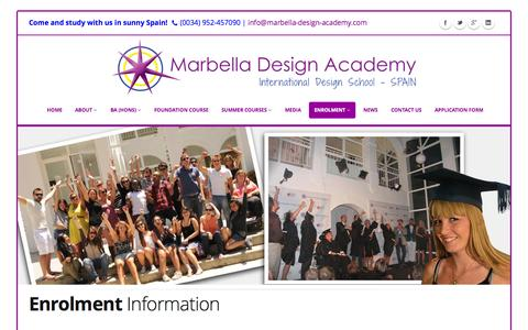 Screenshot of About Page designschool.com - Enrolment Information | Marbella Design Academy - captured Oct. 27, 2014