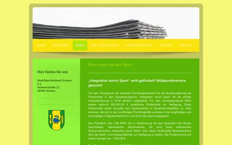Screenshot of Press Page stadtsportverband-gronau.de - StadtSportVerband Gronau e.V. - News - captured June 9, 2016